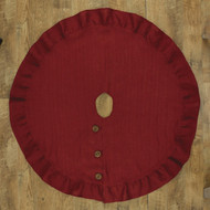 "JUTE BURLAP TREE SKIRT 60"" RED"