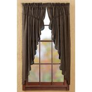 Kettle Grove Plaid Prairie Curtain Scalloped Set 2 63x36x18