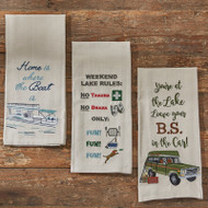 WHERE THE BOAT IS EMBROIDERED DISHTOWEL