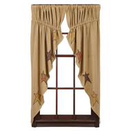 Stratton Burlap Applique Star Prairie Curtain Set-2 63x36x18