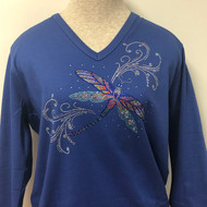 Dragonfly Swirl V Neck Top