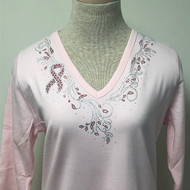 Cancer Ribbon V-Neck Top