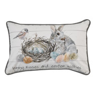 BUNNY KISSES AND EASTER WISHES PILLOW 12X20 - POLY