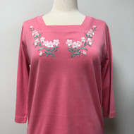 Coral Floral 3/4 Sleeve Square Neck Top