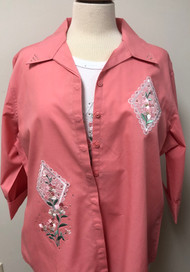 Coral Floral 3/4 Sleeve Shirt