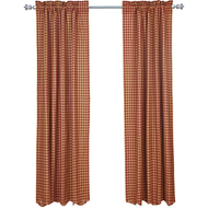 Burgundy Check Scalloped Panel Set of 2 84x40
