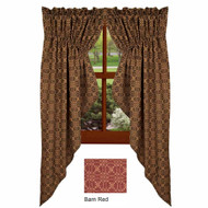 "Marshfield Jacquard 72"" x 63"" (2 pcs) Barn Red - Tan"