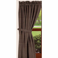 "Kingston Jacquard   72"" x 63"" (2 pcs)(pair of fabric tiebacks included) Black - Nutmeg"