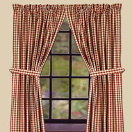 """Heritage House Check 84"""" x 86"""" (2 pcs)(pair of fabric tiebacks included) Barn Red - Nutmeg"""