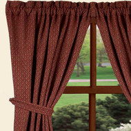 """Philmont Jacquard 84"""" x 86"""" (2 pcs)(pair of fabric tiebacks included) Barn Red - Oat"""