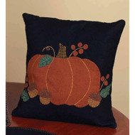 "Pumpkin & Acorns 14"" x 14"" Black"