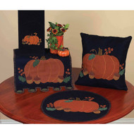 "Pumpkin & Acorns 14"" x 36"" Black"