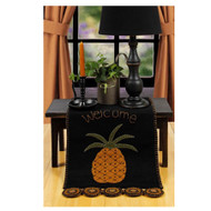 "Pineapple Welcome 14"" x 36"" Black"