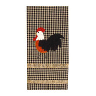 """Rise and Shine Rooster 18"""" x 28"""" Black - Oat"""