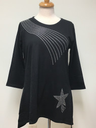 Shooting Star 3/4 Sleeve Tunic Black