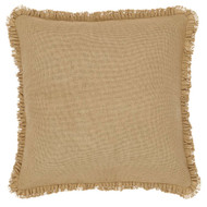 Burlap Natural Ruffled Fringed Filled Pillow 16x16