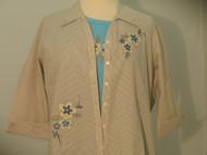 Textured Floral 3/4 Sleeve Shirt