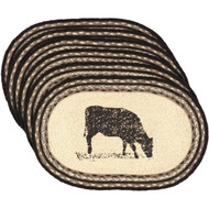 Sawyer Mill Cow Jute Placemat Oval Set of 6 12x18