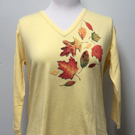Fall Leaves V Neck 3/4 Sleeve