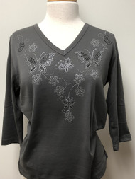 Grey Butterfly & Flower V-Neck Top