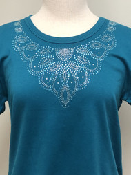 Multi Oval Teal Scoop Neck Tee