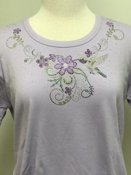 Hummingbird Flower (Lavender) Scoop Neck Tee