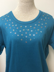 Tri Color Grommet Teal Scoop Neck Tee