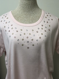 Tri Color Grommet Pink Scoop Neck Tee