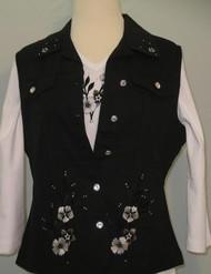 Black Floral Vest