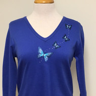 Blue Butterfly 3/4 Sleeve V-Neck
