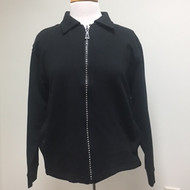Rhinestone Zip Cardigan- Black