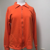 Rhinestone Zip Cardigan- Orange