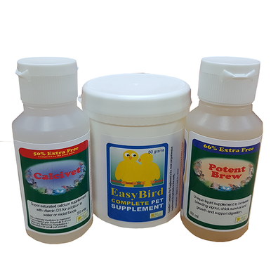 A three product pack to help feather plucking birds. This pack contains Calcivet 30ml, Potent Brew 30ml and EasyBird Complete Pet Supplement 50g. The combination of the three supplements are designed to help with nutritional deficiencies and stress which can trigger off feather chewing or plucking.