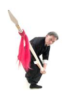 Traditional Spear w/tassel White Wax Wood - 2pc #106