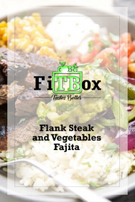 Lean Grilled Flank Steak and Vegetables Fajita with Rice and Fresh Salsa