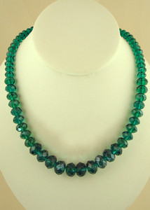 18 inch single strand crystal teal Blue beaded necklace