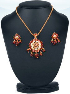 Womens fashion gold plated necklace with a flower pendant embedded with imitation pearls and teardrop faceted Reddish Pink beads -JCN503