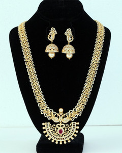 Indian Bollywood Style AD Wedding Bridal Silver Fashion Jewelry Necklace Set