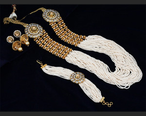 Indian bollywood long multi strand layered tiny Pearl Gold Pt. Necklace Earring bracelet Set