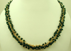 Gold plated necklace with clusters of Green round beads-JCN109