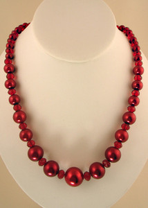 Unique and sparkling Ruby Red beaded necklace fashion jewelry
