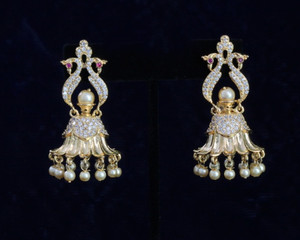 Gold Plated Dangling Jhumka Earrings with Faux Pearl Ball droppings