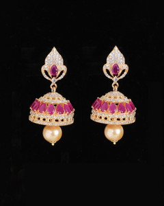 Gold tone Jhumka Jhumki CZ earrings Studded with Ruby stones