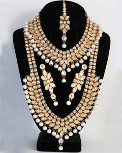 White Kundan Clear stone 5pcs Bollywood Necklace long Haar set