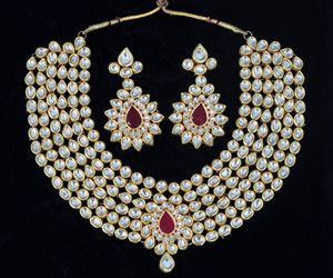 Large Indian Ethnic Style Bollywood Gold Plated Wedding Necklace Set