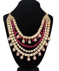 Elegant Multi Strand Gold Plated CZ Polki Kundan Necklace Jewelry Set