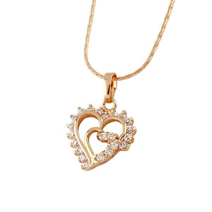 18 karat Gold plated Heart shaped pendant jewelry with cubic zirconia stones