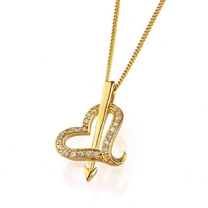 18 karat Gold plated Heart shaped pendant fashion jewelry for women and girls
