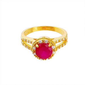 18K Gold plated round Fuchsia with Cubic Zirconia Accents Ring