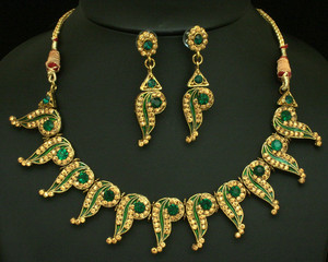 Indian costume Gold plated Emerald Polki set-0211plk112